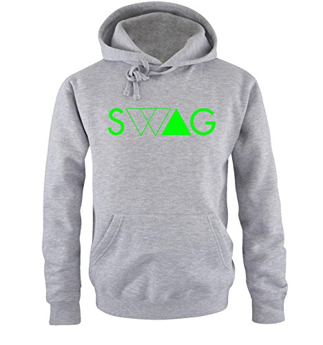 Comedy Shirts - SWAG DELUXE - Uomo Hoodie cappuccio sweater - taglia S-XXL different colors grigio / neon verde