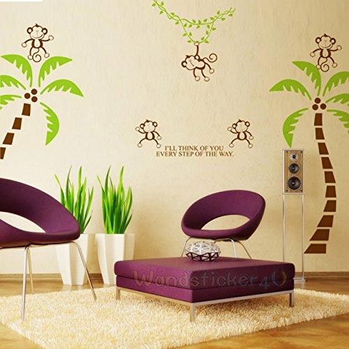 sticker4u-mural-palmiers-et-les-singes-droles-affchen-monkey-wohzimmer-couloir-vestibule-chambre-sti
