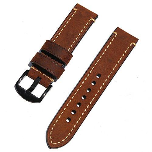 omyzam Herren Leder Ersatz Uhr Armband mit Mode Sport und Freizeit Zubehör Dornschließe aus Edelstahl Braun 20mm