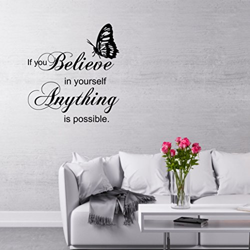 greenluup ® Wandtattoo englischer Spruch Zitat if you believe in yourself anything is possible
