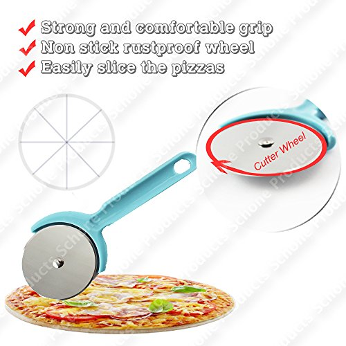 Rustproof Wheel Pizza Cutter - Strong and Comfortable Grip, Resistant to High Temperatures (Blue - Pack of 1)
