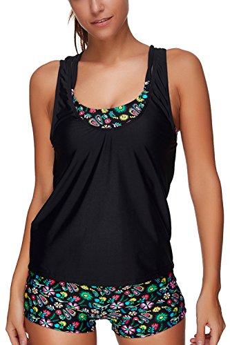 ALICECOCO Damen Sportlich Bunt Sommer Yoga Fitness 3-Teilig/Zweiteilig Tankinis mit Shorts Strand Bikini Set mit Top (Blumen, EU 38-40 ( L )) (Wasser-bh-einsätze)