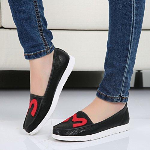 Nette Damen Lässige Slip On Flach Weiche Bequeme Tägliche Halbschuhe Sneakers Schwarz