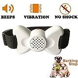JunBo Anti-Bell Hundehalsband Hunde Erziehungshalsbänder 6 Einstellbar Modi mit Klingen und Vibration (Weiß)