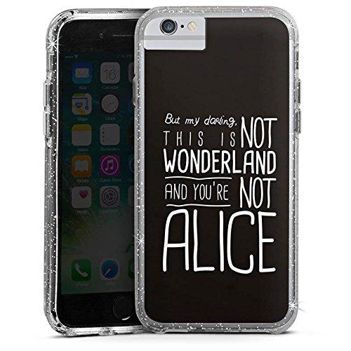 Apple iPhone X Bumper Hülle Bumper Case Glitzer Hülle Wonderland Alice Sprüche Bumper Case Glitzer silber