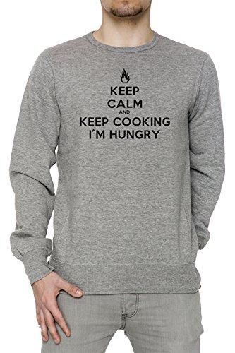 keep-calm-and-keep-cooking-im-hungry-uomo-grigio-felpa-felpe-maglione-pullover-grey-mens-sweatshirt-