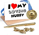 TiedRibbons® Special Gifts for Husband Combo(Golden Medal ,Golden cufflinks,Tie-pin,Studded pen and Greeting card)