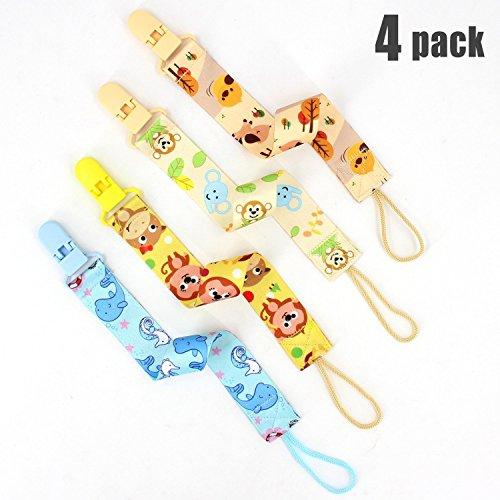 Almondcy Dummy Clip 4 Packs - Moderne 2-seitige stilvolle Design - Best Schnuller Holder für Mädchen und Jungen