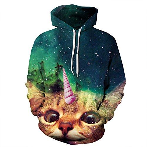 Entzückende Kitten Weiblich Pullover Mit Kapuze Runden Kragen Sweatshirt Chunky Hoody M (Marvel Weibliche Kostüme)