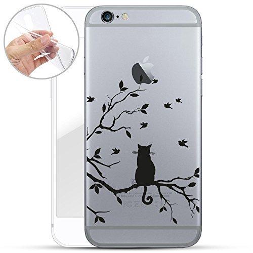 finoo | iPhone 6 und 6S Weiche Flexible Silikon-Handy-Hülle | Transparente TPU Cover Schale mit Motiv | Tasche Case Etui mit Ultra Slim Rundum-Schutz | Katze auf AST