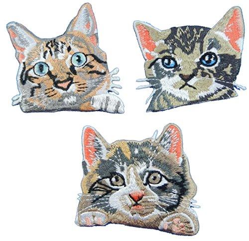(i-Patch Patches - 0058 - Katze - Katzen - Katzenkopf - Cat - Aufbügler - Flicken - Aufnäher - Sticker - Badges - Flicken - Bügelbild - DIY - Aufbügler - Iron-on - Applikation - zum aufbügeln)