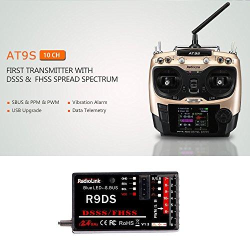 Ajcoflt AT9S 2.4GHz 10CH Sistema de Control Remoto Transmisor Mode2 y R9DS...