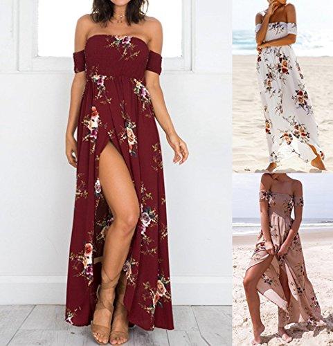MIOIM Robe Femmes Plage Robes Longues Boho Maxi Bodycon Party Soirée Patchwork Rouge