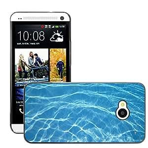 Bild Hart Handy Schwarz Schutz Case Cover Schale Etui // M00151341 Aqua auszug beschaffenheit blau Rein // HTC One M7