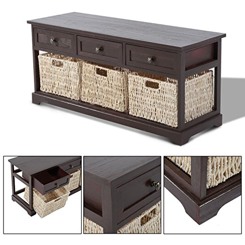 Buy homcom storage table living room furniture coffee table wooden bench wood home w 3 seagrass Coffee table with wicker baskets