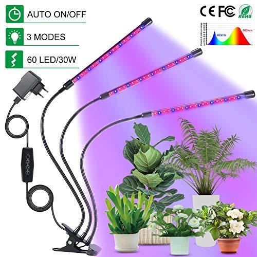 Chefic Pflanzenlampe 30W, 60 LEDs Einstellbar Pflanzenlicht IP55 Wasserdicht Vollspektrum, mit Automatische Zeitschaltuhr/ 3H/6H/12H Timer/3 Lichtmodus/Dimmbar 6 Lichtstärken Funktionen Plant Light