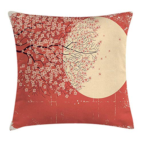 Spring Throw Pillow Cushion Cover, Cherry Blossom Sakura Tree Branches on Moon Japanese Style Illustration, Decorative Square Accent Pillow Case, 18 X 18 Inches, Coral Pale Yellow Plum