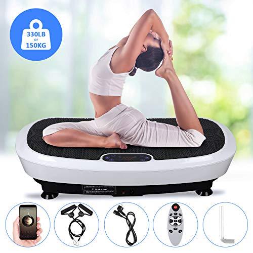 EVOLAND Plateforme Vibrante Oscillante à 2 Moteurs 3D+180 Niveaux+5 Programmes, Ecran Tactile avec Télécommande, Haut-parleurs Bluetooth, Appareil de Massage Perte de Poids, 150KG Capac