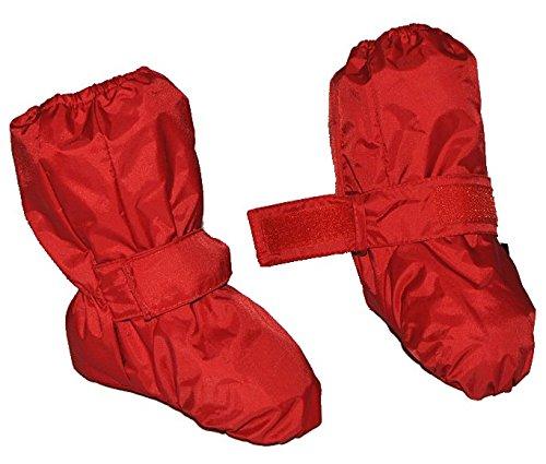 Überziehschuhe mit langem Schaft - Größe: 9 Monate bis 1,5 Jahre - wasserdicht leicht anzuziehen - Thermo gefüttert Fleece - rot Baby Regenfüßling Füßlinge - Babyschuhe
