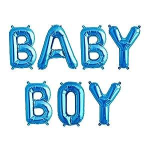 ballonfritz® Luftballon BABY BOY Schriftzug in Blau - XXL Folienballons für Luft als Geschenk zur Geburt eines Jungen, Baby-Shower-Party Deko oder Überraschung