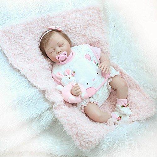 Nicery Reborn Baby Doll Renacer Bebé la Muñeca Vinilo Simulación Silicona Suave 22 pulgadas 55cm Boca Magnética Natural Niña Niño Juguete Boy Girl RDS55C002