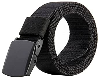 JasGood Nylon Canvas Breathable Quick-Drying Military Tactical Style Adjustable Waist Web Men Belt With Plastic Buckle JA015_Black