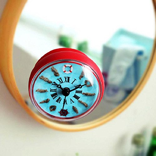 Wanduhr 3D Kreative mediterrane Ruderboje Bad Glocke Kühlschrank / Küche / wasserdicht / Sauger Uhr hängende Uhren , red