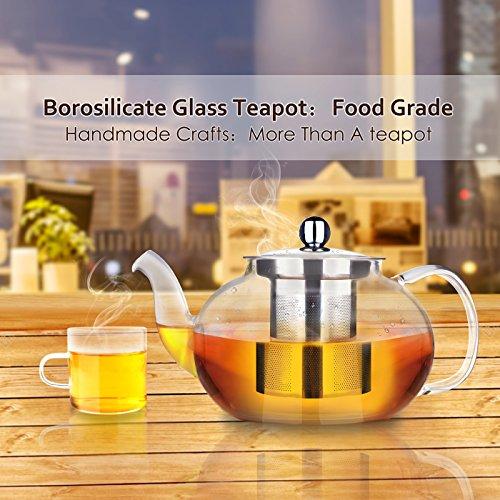 900 ml include sottobicchiere in legno AckMond Teiera in vetro borosilicato trasparente con filtro e coperchio in acciaio inox