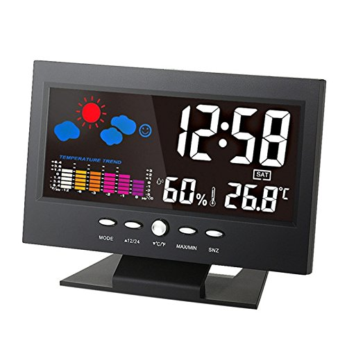 XU-XIAZHI,Digitaler Temperatur-Feuchtemessgerät Uhr Thermometer Hygrometer Kalender(Color:SCHWARZ)