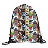 kjhglp Men Women Brave Billie Large Collection of Albums Eilish Gym Drawstring Drawstring Backpacks...