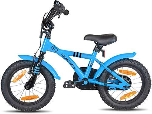 Prometheus Bicicletta per Bambini e Bambine da 4 Anni nei Colori Blu e Nero da 14 Pollici con rotelle e contropedale – BMX da 14″ Modello 2019 - 6