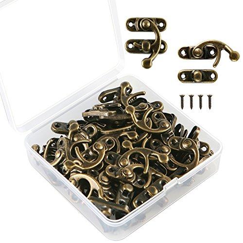 Aneco 30conjuntos antiguo derecho Latch Hook Caja joyas de madera aldaba para candados con cierre Catch decoración con tornillos de repuesto, Bronce