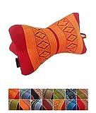 Traditional Thai kapok cuscino poggiatesta per yoga massaggi o relax, arancione e rosso