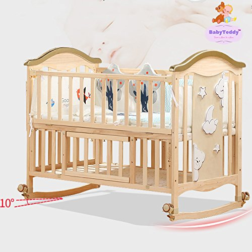 BabyTeddy's 9 in 1 Convertible Forest Theme Baby Crib Wooden Cot Bed Swing Desk with 6 Piece Bedding Set and Mosquito Net
