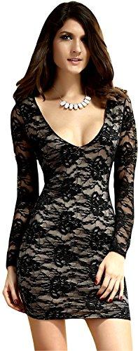 Magnifique mini-robe stretch à manches longues en dentelle et satin (unterlegtem unique Noir - Noir/beige