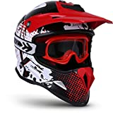 "Soxon · SKC-33 Set ""Fusion White Red"" (Rot) · Kinder-Cross Helm · Off-Road Motorrad Pocket-Bike BMX MX Quad Crosshelm Enduro Moto-Cross Sport Kinder · ECE zertifiziert · S (53-54cm)"