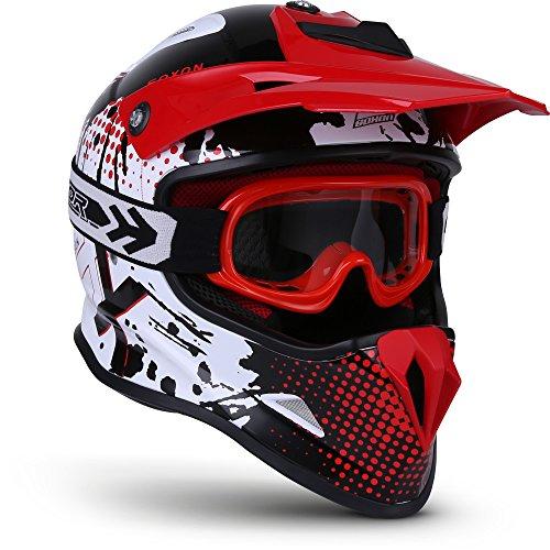 "SOXON® SKC-33 Set ""Fusion White Red"" · Kinder-Cross-Helm · Motorrad-Helm MX Cross-Helm MTB BMX · ECE Schnellverschluss SlimShell Tasche S (53-54cm)"
