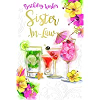 Sister In Law Drinks Cocktails Flowers & Umbrella Design Happy Birthday Card