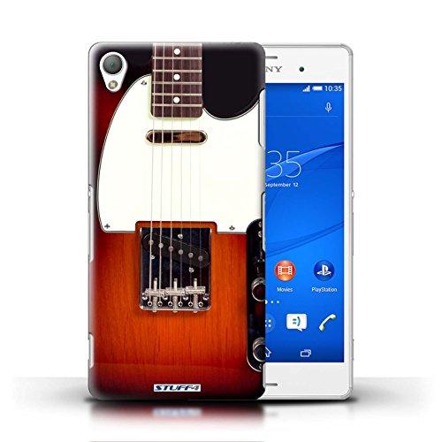 Kobalt® Imprimé Etui / Coque pour Sony Xperia Z3 / Acoustique en Bois conception / Série Guitare Sunburst Electrique