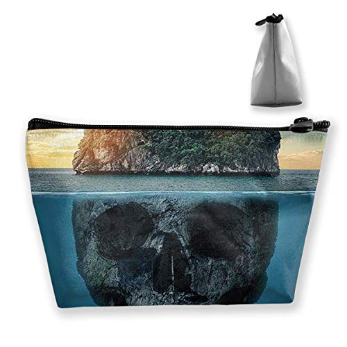 Skull Island Women Cosmetic Bags Portable Pouch Trapezoidal Storage Bag Travel Bag with Zipper