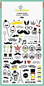 Suatelier Mustache Glitter Sticker (2 Sheets) - 01011 by Kawaii