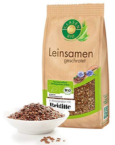 CLASEN BIO Leinsamen / Leinsaat geschrotet - 250g, von Natur aus vegan und glutenfrei, biologischer Anbau -
