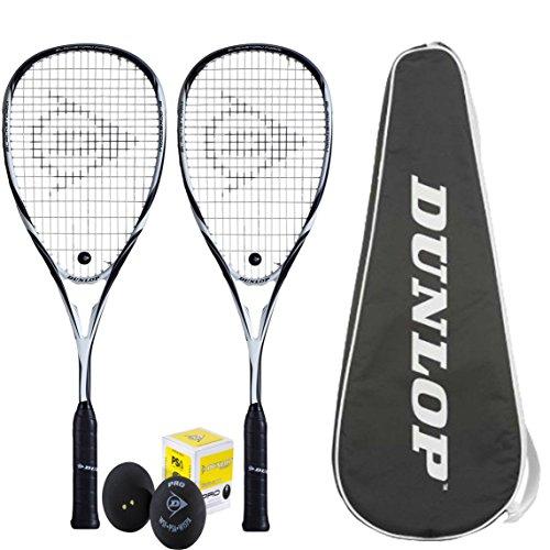 2x Dunlop Blackstorm Force Squashschläger inklusive Squashtasche & Squashball / 140g Rahmengewicht / 100% Graphit / Squash-Set für Vereinsspieler
