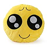 WENYFX groß Emoji-Kissen, 30,5cm/30cm, große rund gelb Plüsch Emoji-Kissen-Set, gefüllt Puppe Spielzeug Xmas Geschenk, gelb, little poor