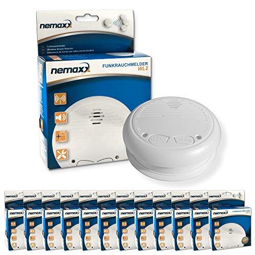 12x Nemaxx WL2 Funkrauchmelder  hochwertiger Rauchmelder Brandmelder Set Funk koppelbar vernetzt...