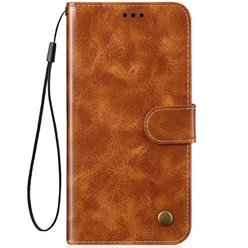 Ikasefu Schutzhülle für iPhone 7 Plus/8 Plus, luxuriöses Retro-PU-Leder, Geldbörsen-Stil, Kartenschlitze, stoßfest, magnetisch, weich, stoßfest goldgelb