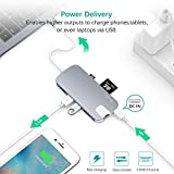 GN30H USB C Hub Shuttle Type C Hub with Power Delivery for Charging ,HDMI Output ,Card Reader, 3 USB 3.0 Ports,Gigabit Ethernet Port Adapter with PD Specification for MacBook 12-Inch Aluminum Alloy Build (Gray)