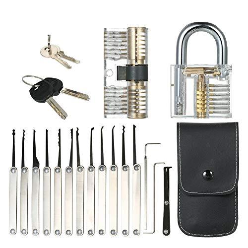 Ardorlove Unlocking Lock Pick Set with 15 Pcs Pick and 2 Keys Transparent Lock Professional Practice Padlock Lock Repair Tools Kit Door Opener Bump Key Locksmith Opener Tool