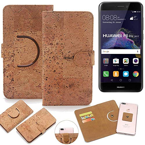 K-S-Trade Schutz Hülle für Huawei P8 Lite 2017 Dual SIM Handyhülle Kork Handy Tasche Korkhülle Schutzhülle Handytasche Wallet Case Walletcase Flip Cover Smartphone Handyhülle
