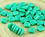 20pcs Opaque Türkis Grün Flach Gewellten Quadrat-Chip Waschmaschine Tschechische Glas-Perlen 10mm x 4mm